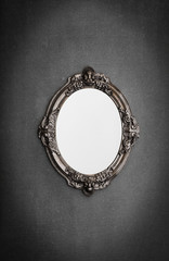 baroque, Victorian mirror on a gray wall