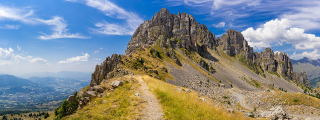 Panoramic view of Aiguilles de Chabrieres (Chabrieres Needles) in Summer. Ecrins National Park, Hautes-Alpes, Southern French Alps, France