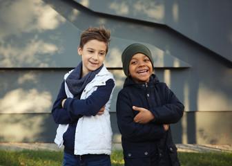 Cute stylish boys outdoors