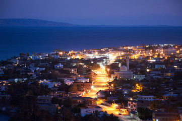 Dahab is a small town on the southeast coast of the Sinai Peninsula in Egypt at night