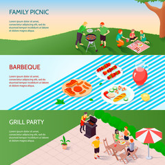 Grill Party Isometric Banners