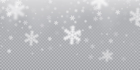 Falling snowflake pattern background of white cold snowfall overlay texture isolated on transparent background. Winter Xmas snow flake ice elements template for Christmas of New Year holiday design Wall mural