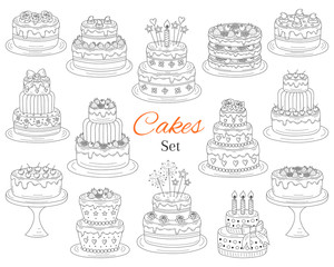 Cakes set, vector hand drawn doodle illustration.