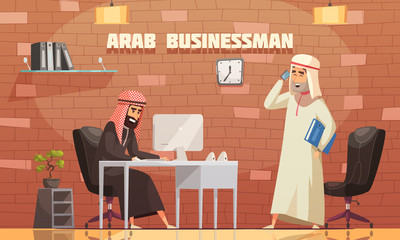 Arab Businessman Office Cartoon Illustration