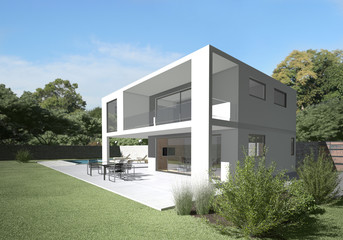 Modern villa with terrace and garden.  Clean design and materials. Peaceful background and sitting on the terrace the straight from living room.
