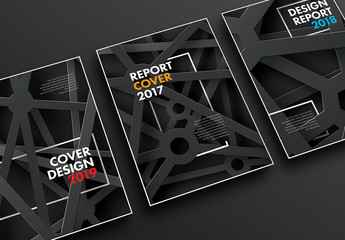 3 Report Cover Layouts with Industrial Metal Illustration
