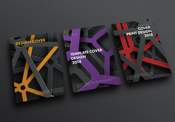 3 Annual Report Cover Layouts with Industrial Metal Illustration