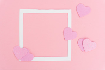 Valentines day frame on pink background with copy space