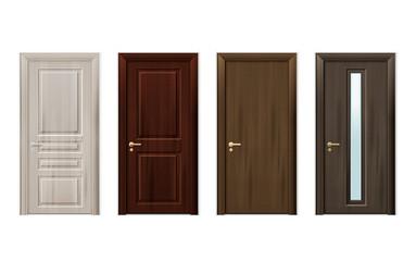 Wooden Doors Design Icon Set