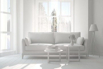 White room with sofa. Scandinavian interior design. 3D illustration