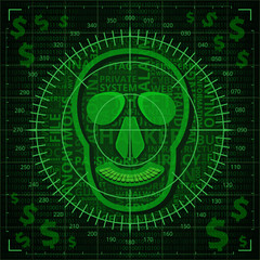Skull target with hacker related words on binary code background