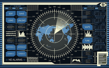 Digital radar screen with world map, targets and futuristic user interface of blue and beige shades on dark background