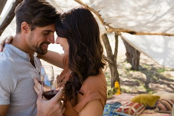 Romantic couple with wineglasses