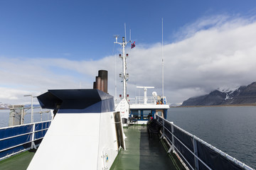 Expedition with a ship in the Arctic of Svalbard, Norway