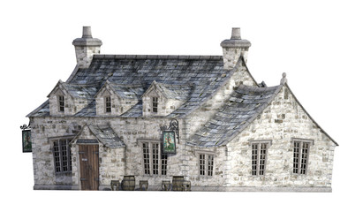 Old Stone Tavern Isolated on White. 3D Render.