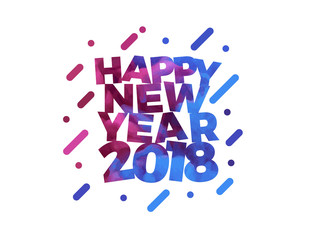 Happy New Year 2018 Colorful text vector illustration greeting card design.