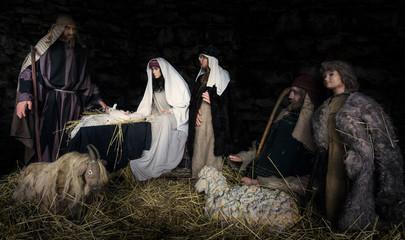 Bible scene - birth of Christ. composite image, scene made of dolls