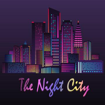 Vector illustration of night city