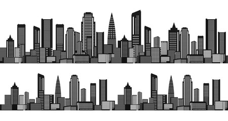 Seamless horizontal pattern with city