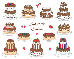 Chocolate cakes set, vector hand drawn, colorful doodle illustration.