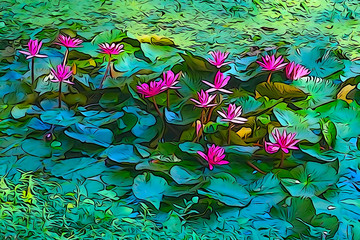 Oil paint of red water lily, artistic image