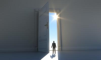 Figur an offener Tür - Zukunft 3