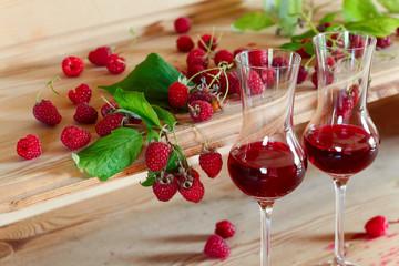 Homemade raspberry wine .