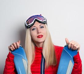 girl with Alpine skiing