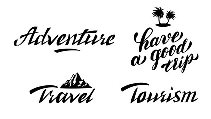 Adventure and travel hand lettering set. Motivational phrases for greeting cards, decoration, prints and posters.