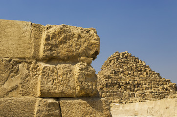 The wall near the small pyramid in Giza