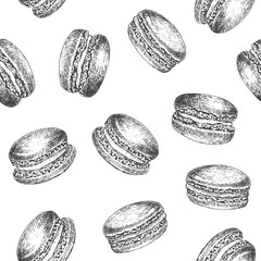 Aluminium Prints Macarons Macarons seamless pattern background design template. Vintage black and white illustration. Sweet and Baked vector element.