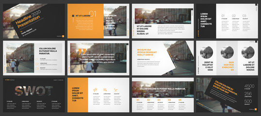 Orange and black presentation templates elements on a white background. Vector infographics. Use in Presentation, flyer and leaflet, corporate report, marketing, advertising, annual report, banner. Wall mural