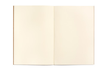 Open blank notebook isolated on white background