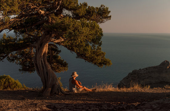 Beauty nature landscape Crimea with man traveler