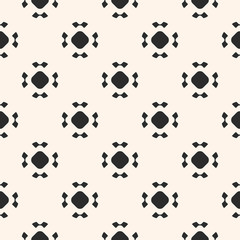 Simple seamless pattern with rounded figures, floral shapes. Black and white