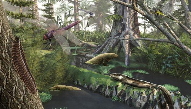 Devonian landscape, 3d render