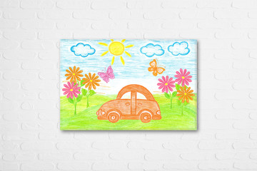 Frame with colorful self-drawn colored pencils picture on white bricks wall. Decorative wallpaper for kid's room interior. Orange toy car, flowers and butterflies. 3D illustration