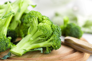 Fresh broccoli on white background closeup