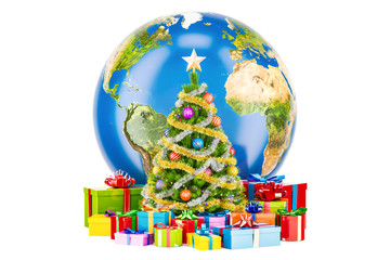 Global Christmas and New Year concept. Earth Globe with Christmas tree and gift boxes, 3D rendering