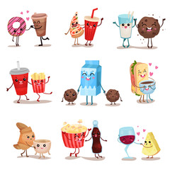 Cute funny food and drink characters set, best friends, funny fast food menu vector Illustrations