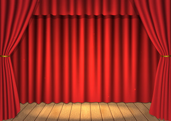 Vector scene with a curtain