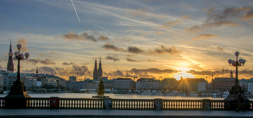 christmas time in Hamburg Germany at the lake Alster