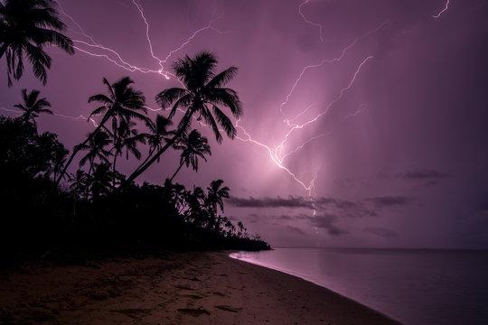 Fiji Lighting Storm at Night Beach