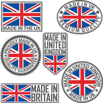 Made in UK label set with flag, made in the UK, vector illustration