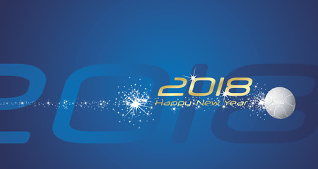 Sport 2018 Happy New Year firework blue abstract background