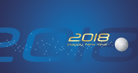 Sport 2018 Happy New Year line design blue abstract background