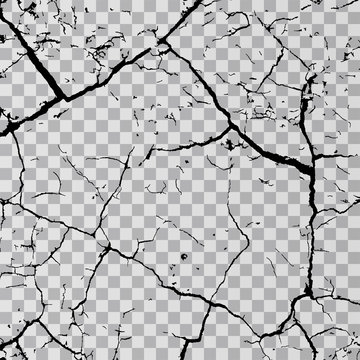 Wall cracks isolated on transparent background. Fracture surface ground, cleft broken collapse illustration