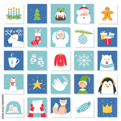 Christmas And New Year Celebration Symbols Advent Calendar Or Bingo