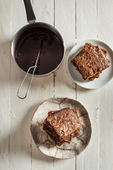 Delicious Brownie on Rustic Table