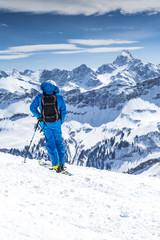 Freerider mit Blick auf das Alpenpanorama
